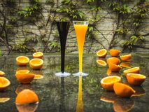Romantic funny morning for two after rain. Elegant glasses of fr stock image