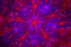Romantic Galaxy, Colorful Glittering Hearts, Amour, Backgrounds. Romantic Galaxy Pink red blue ultra violet glowing hearts Bright luxury background Valentines stock illustration