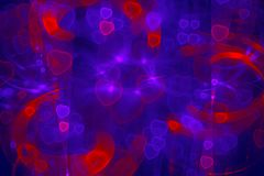 Romantic Galaxy, Colorful Glittering Hearts, Amour, Backgrounds. Romantic Galaxy Pink red blue violet glowing hearts Bright luxury multi color background Royalty Free Stock Photos