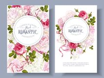 Romantic garden banners. Vector vintage floral banners with peony, hydrangea, rose flowers and ribbon. Romantic design for natural cosmetics, perfume, women vector illustration