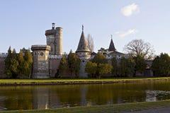 Romantic garden castle Franzensburg Stock Photos