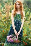 Romantic garden girl at summer Royalty Free Stock Images