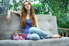 Romantic garden girl at summer Royalty Free Stock Photos