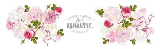 Romantic garden horizontal. Vector floral horizontal banner with peony, hydrangea, rose flower and ribbon. Romantic design for natural cosmetics, perfume, women vector illustration