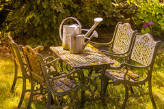 Romantic garden table Stock Images