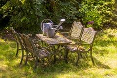 Romantic garden table Stock Photos