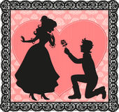 Romantic gesture. Silhouette of a gentleman giving a flower to a lady Royalty Free Stock Images