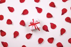 Beautiful bright red rose petals on solid white background. Happy valentines day oliday sales concept. Romantic gesture, love confession, happy valentines day Royalty Free Stock Image