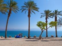 Romantic getaway on the beach under palm trees. The perfect place for a romantic getaway on the beach under palm trees Stock Image