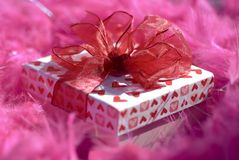 Romantic Gift Box. With surrounding Pink Background Royalty Free Stock Photo