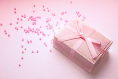 Romantic gift box with bow stock photos