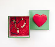 Romantic gift in a box with a heart and key I love you Royalty Free Stock Photos