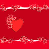 Romantic gift card with red heart and abstract flower frame Royalty Free Stock Photo