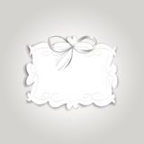 Romantic gift card with vintage label for text and silk ribbon Royalty Free Stock Photo