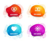 Romantic gift, Heart and Web love icons. Dating network sign. Surprise with love, Social network. Vector. Liquid badges. Set of Romantic gift, Heart and Web love vector illustration