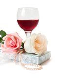 A romantic gift with two beautiful rose Royalty Free Stock Image