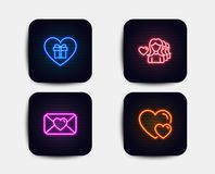 Romantic gift, Woman love and Valentine icons. Hearts sign. Surprise with love, Romantic people. Vector. Neon glow lights. Set of Romantic gift, Woman love and stock illustration