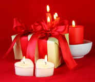 Romantic Gifts and Burning Candles Royalty Free Stock Images