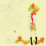 Romantic girl. On autumn background. Universal template for greeting card, web page, background Royalty Free Stock Photos