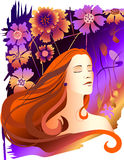 Romantic girl. The girl with eyes closed on the floral background Royalty Free Stock Photo