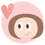 Romantic girl. A brown haired girl looking at a pink heart on a pink background. Illustration Stock Photography