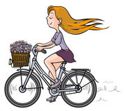 Romantic Girl on bicycle. Royalty Free Stock Photography