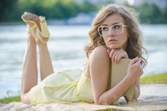 Romantic girl with book Royalty Free Stock Image