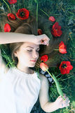 Romantic girl with a bouquet of tulips Stock Images