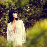 Romantic girl in forest Stock Photography