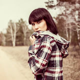 Romantic girl in forest Stock Image