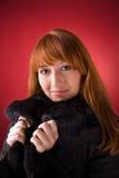 Romantic girl in fur coat stock photos