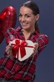 Romantic girl with gift box heart Stock Photo