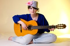 Romantic girl with the guitar Royalty Free Stock Photography