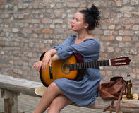 Romantic girl with guitar royalty free stock images