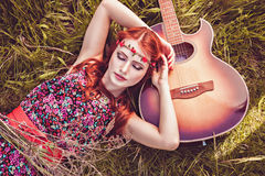 Romantic girl and her guitar, summer, hippie style Royalty Free Stock Photography