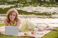 Romantic girl with laptop Royalty Free Stock Photo