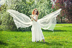 Romantic girl like spring angel Stock Images