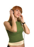 Romantic girl listening to the music Stock Image