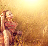 Romantic Girl Outdoors Stock Photography
