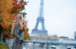 Romantic girl in Paris. On a fall day Stock Photos