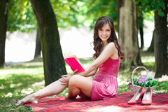 Romantic girl on picnic Royalty Free Stock Photo