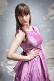 Romantic girl in pink dress Royalty Free Stock Image