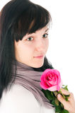 The romantic girl with a pink rose Stock Photo