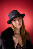 Romantic girl in stylish hat Royalty Free Stock Photography