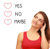 Romantic girl thinking about love Stock Images