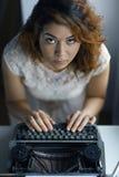 Romantic girl is typing Stock Photos