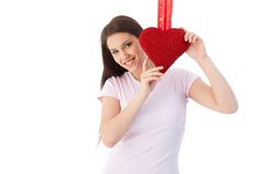 Romantic girl at Valentine's day smiling Stock Photography