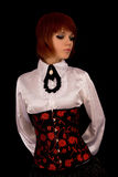 Romantic girl in white blouse and corset stock photos