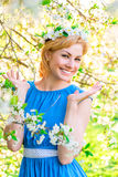 Romantic girl with a wreath of flowers on her head Royalty Free Stock Images