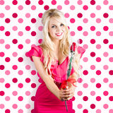 Romantic girlfriend receiving rose from valentine Stock Photography